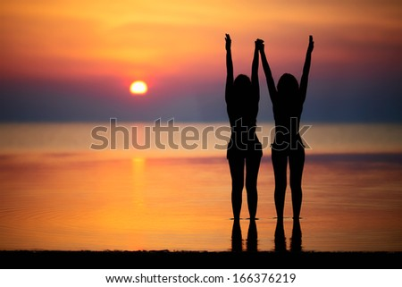 Silhouettes of two women posing at the sunset - stock photo