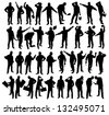 silhouettes of workers - stock vector