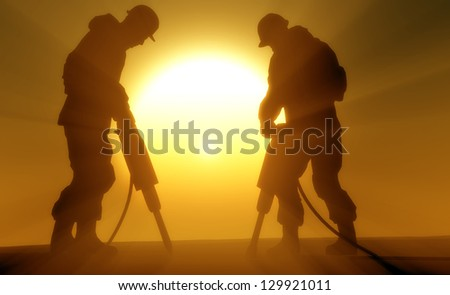 Silhouettes of working in the sun. - stock photo