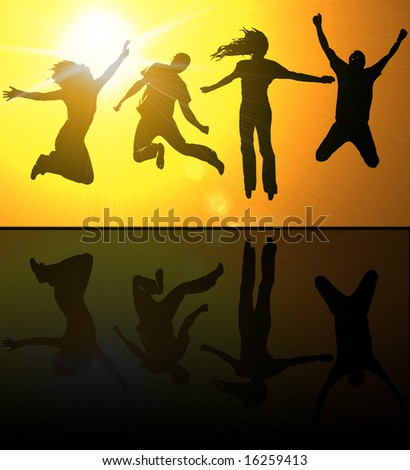 Silhouettes of young people jumping against a glowing background - stock photo