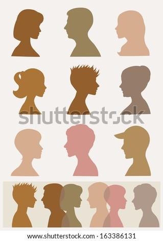 Silhouettes, profiles. Sepia colors  - stock photo