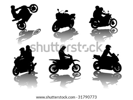 silhouettes road motorcycles on a white background