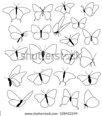 silhouettes, shape, outline of butterflies on a white background - stock photo