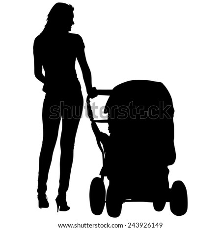 Silhouettes  walkings mothers with baby strollers.  illustration.