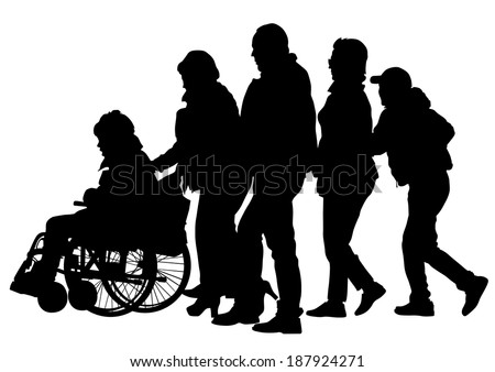 Silhouettes wheelchair and crowds people - stock photo