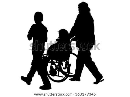 Silhouettes wheelchair and women on white background - stock photo
