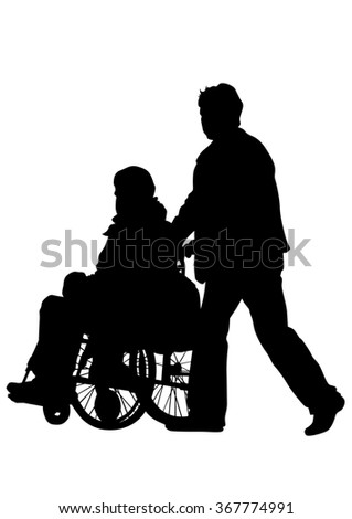 Silhouettes wheelchair and women on white background - stock photo