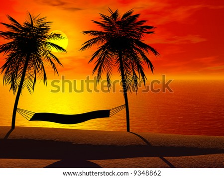 Silhoutte of a hammock between two palm trees in sunset. - stock photo