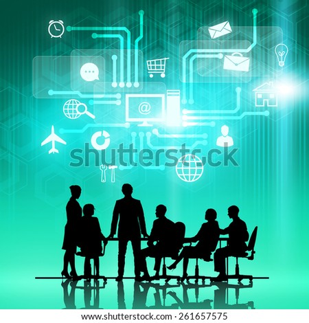 Silhouttes of business people as team sitting round table at digital background - stock photo