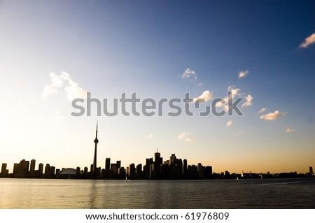 silhuette harbour toronto tower cn toronto - stock photo