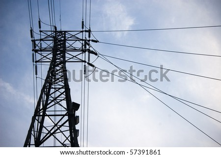 silhuette , pylon against sky , electricity industry