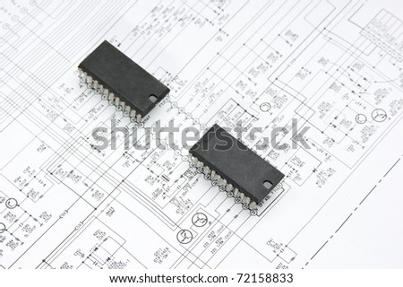 silicon chip on the wiring diagram - stock photo