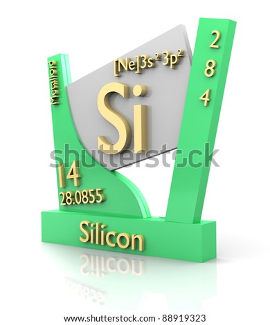 Silicon form Periodic Table of Elements - 3d made