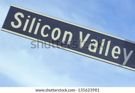 Silicon Valley sign against the sky (Slightly grainy, best at smaller sizes) - stock photo