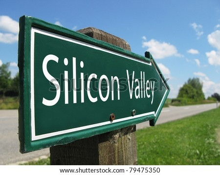 SILICON VALLEY signpost along a rural road - stock photo