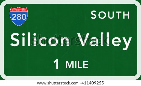 Silicon Valley USA Interstate Highway Sign Photorealistic Illustration - stock photo