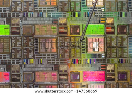 silicon wafer with printed electronic circuit - stock photo