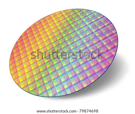 Silicon wafer with processor cores isolated on white background - stock photo