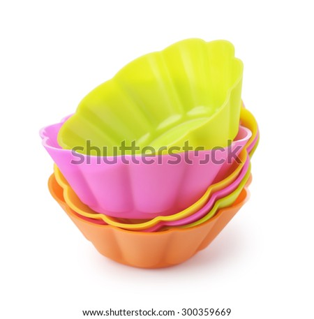 Silicone baking cups isolated on white  - stock photo