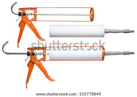 Silicone glue gun, isolated on white - stock photo