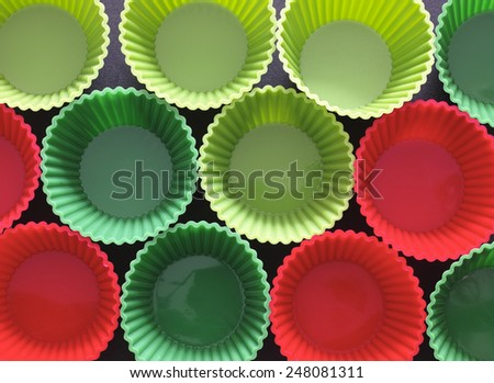 Silicone muffin moulds ready for use. - stock photo