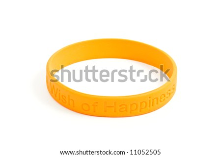 "silicone wristband, bracelet on the white background ""wish of happiness"" (isolated with clipping path) - stock photo"