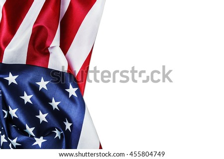 silk American flag isolated on white background - stock photo