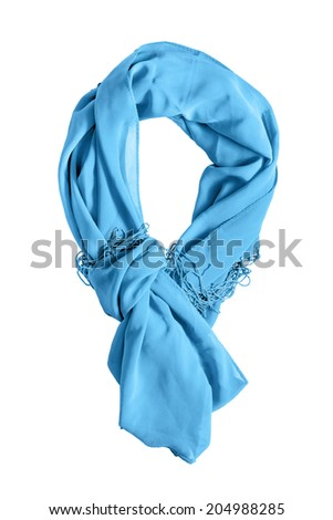 Silk blue tied scarf isolated over white - stock photo