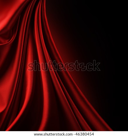 Silk border isolated on black - stock photo