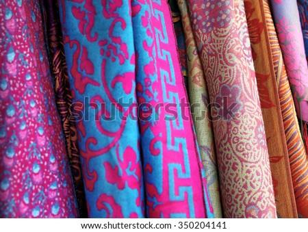 Silk chinese scarfs - stock photo