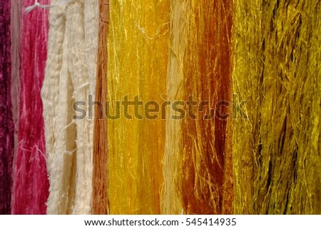 Silk dyed bright colors.