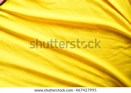 Silk Fabric Background, Yellow Satin Cloth Waves Sheets, Abstract Texture
