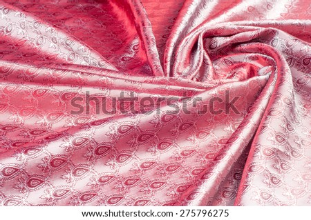 Silk fabric texture, red. red satin or silk fabric as background.  Red Silk Fabric Texture for Drapery Abstract Background.  - stock photo
