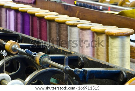 Silk factory - stock photo