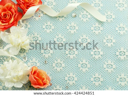 Silk flowers satin ribbon lace make stock photo edit now 424424851 silk flowers satin ribbon and lace make a feminine background with border could be mightylinksfo