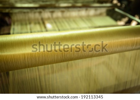 Silk for weaving on a hand loom in Chiang Mai,Thailand - stock photo