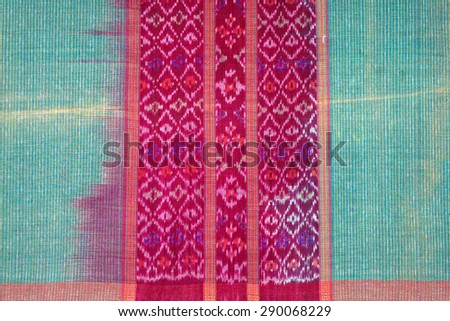 Silk more than 200 years old Colorful thai silk handcraft  close up More this  textiles peruvian stripe beautiful background old vintage torn conservation Made from natural materials Chemical free - stock photo