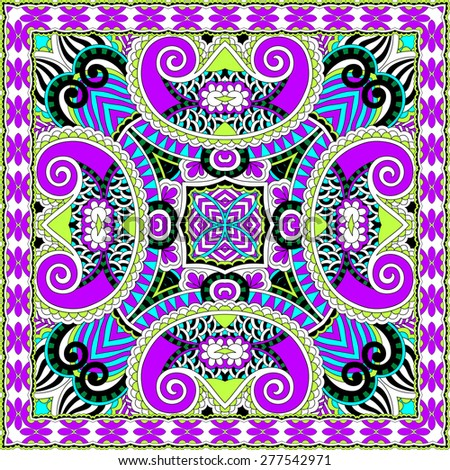 silk neck scarf or kerchief square pattern design in ukrainian karakoko style for print on fabric, raster version