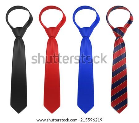 Silk neckties. 3d illustration isolated on white background - stock photo