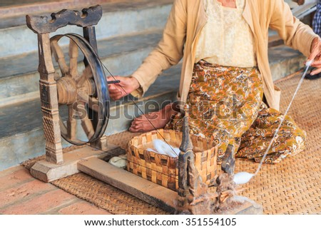 Silk Production Process traditional in bagan Myanmar - stock photo