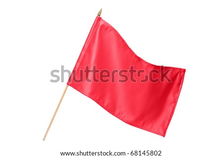 Silk red flag isolated on white background - stock photo