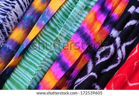Silk scarves hand-dyed using Japanese shibori techniques - stock photo