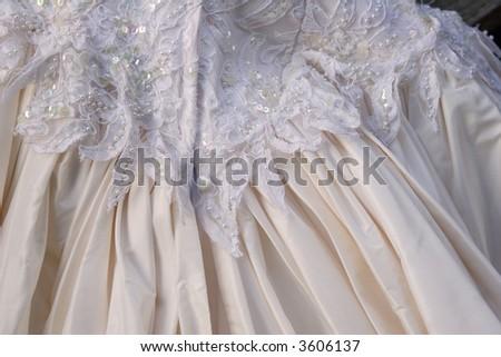 silk taffeta wedding dress - back detail - stock photo