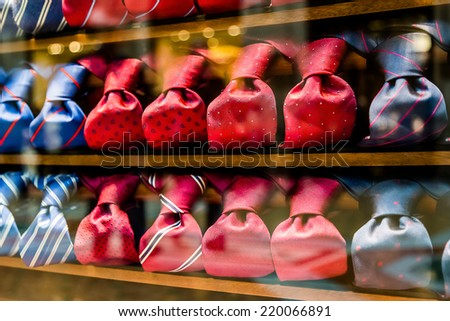 Silk ties in a store - stock photo