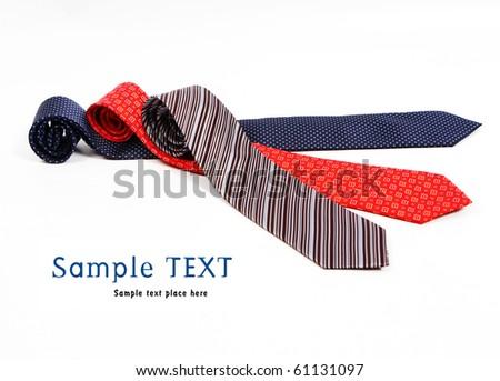 Silk ties isolated on white - stock photo