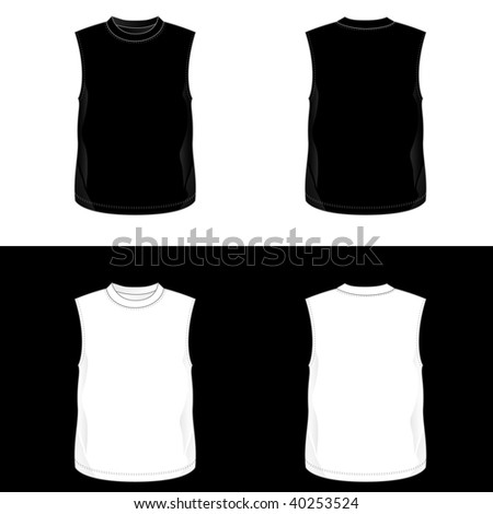Silkscreen series. Black and white realistic blank sleeveless  bodybuilder t-shirt templates. (front and back) - stock photo