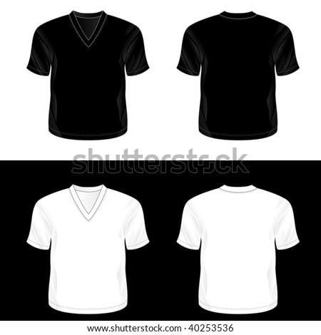 Silkscreen series. Black and white realistic blank v-neck t-shirt templates (front and back). - stock photo