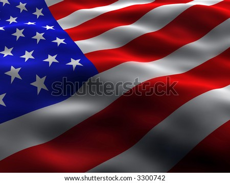 Silky and wavy US Flag - stock photo
