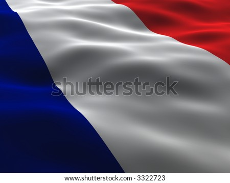 Silky France Flag - stock photo