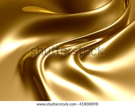 Silky gold metal fractal abstract illustration - stock photo
